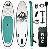 Roc Inflatable Stand Up Paddle Board with Premium sup Accessories & Backpack, Non-Slip Deck, Waterproof Bag, Leash, Paddle and Hand Pump. (Seagrass)