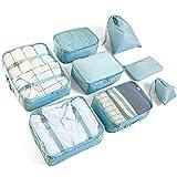 Organiseurs de Bagage McNory,Set de 8 Organisateurs de Voyage Emballage Cubes Rangement pour Vêtement sous-Vêtement Chaussures Cosmétique (Bleu)