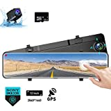 Karsuite M9 12' Mirror Dash Cam 2560x1440P Backup Camera with GPS Touch Screen Front and Rear View Dual Lens Full HD WDR Night Vision, G-Sensor (Free 32GB SD Card Included) for Cars