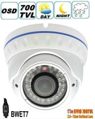 BW BWET7 HD 1/3' Sony CCD EFFIO-E 700TVL IR antivandalo telecamera di sorveglianza CCTV Dome con obiettivo 2.0 Megapixel 2.8-12mm, visione notturna 30M per sistemi di sicurezza domestica