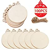 PartyTalk 100pcs Natural Wood Slices 3.5', DIY Wooden Christmas Ornaments Unfinished Predrilled Wood Circles for Crafts Centerpieces Holiday Hanging Decorations