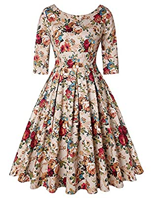 Feature: 1950s Retro Audrey Hepburn Style Swing Dress, 3/4 sleeve, Knee-Length, Floral Printed, Scoop neck, A-line, Concealed Zipper Closure at back. Occasion: Suit for Cocktail dresses, Wedding dresses, Evening dresses, Christmas party dresses, Home...