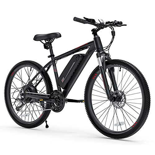 """Cybertrack 100 26"""" Electric Bike, 3 Hours Fast Charge, BAFANG 350W Brushless Motor, 36V/10.4Ah Removable Lithium-Ion Battery, Electric Mountain Bike with Shimano 21-Speed and Suspension Fork"""