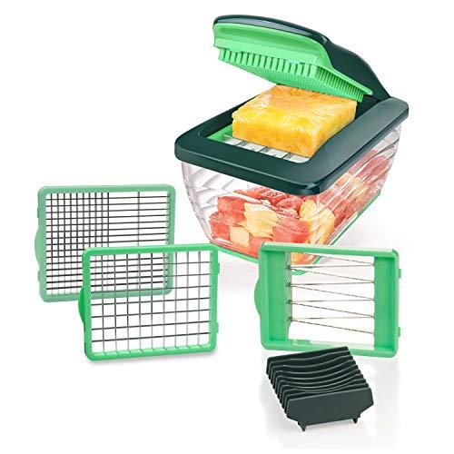 Genius Mandoline Nicer Dicer Chef S 7 en 1 Multifunction Professionelle Vert - Coupe-légumes avec Bol et Coupe-tomates légumes | dés, bâtonnets, tranches