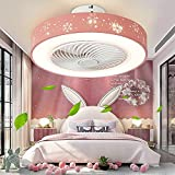 IYUNXI Low Profile Ceiling Fan with Lights Remote Control 20 Inch 3-Color Pink Flush Mount Ceiling Fan Light Dimmable 72W 110V 3-Speed 1H/2H Timing Enclosed Ceiling Fan for Bedroom
