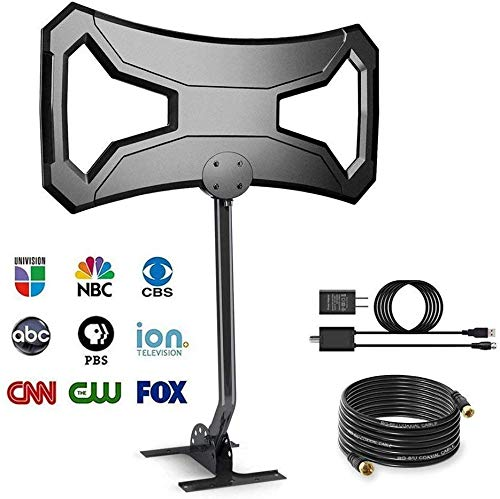 150 Miles Amplified HDTV Antenna Outdoor - Long Range Multi-Directional Reception Antenna with Pole Mount for 4K FM/VHF/UHF Free Channels, Attic,RV Used, Waterproof, Anti-UV Digital Antenna
