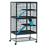 MidWest Deluxe Critter Nation Double Unit Small Animal Cage (Model 162) Includes 2 leak-Proof Pans, 2 Shelves, 3 Ramps w/ Ramp Covers & 4 locking Wheel Casters, Measures 36'L x 24'W x 63'H Inches, Ideal for Dagus, Rats, Ferrets, Sugar Gliders