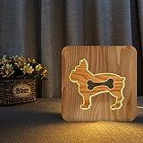 Figura de perro de madera DIY todos los amigos cumpleaños negocios 3D LED luz de noche lámpara de mesa decoración de noche regalo para niños