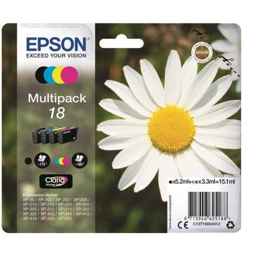 Epson 18 Serie Margherita C13T18064012, Cartuccia Originale, Standard, Multipack, 4 Colori, con...