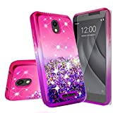 Galaxy Wireless Case for Alcatel Insight (Cricket) / TCL A1 A501DL with Tempered Glass Screen Protector, Liquid Glitter Floating Waterfall Shock Proof Girls Women Cute Phone Case - Hot Pink/Purple