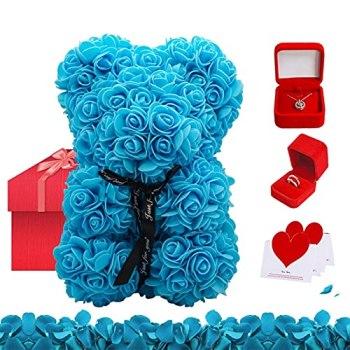 Ours en peluche rose, ours en fleurs parfait pour la fête des mères de la Saint-Valentin, bague 925 avec diamant, collier de clavicule dans une boîte cadeau, 100 langues je t'aime chaîne avec pen