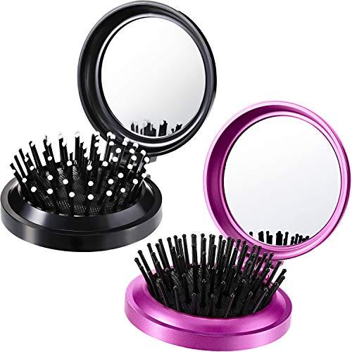 2 Pièces Brosses à Cheveux Pliantes Miroir de Voyage Brosse à Cheveux...