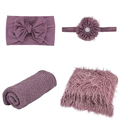 SPOKKI 4 Pcs Newborn Photography Props Outfits- Baby Purple Long...