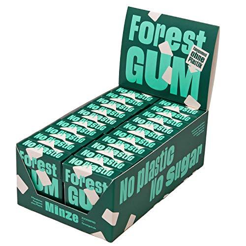 FOREST GUM Minze | Plastikfreies Kaugummi mit Minz-Geschmack | Pflanzliche Zutaten | ohne Zucker | Vegan | 20 x 20 Gramm