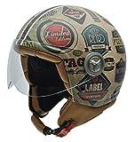 NZI 050004G591 Vintage II Retrolabels Casque de Moto, Illustration Étiquettes Retro, Taille : M