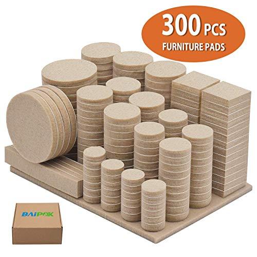Furniture Pads 300 Pack Premium Furniture Felt Pads (Beige), Huge Quantity Self Adhesive Felt Pads, Anti Scratch Floor Protector for Furniture Legs Hardwood Floor with 60 Cabinet Door Bumpers