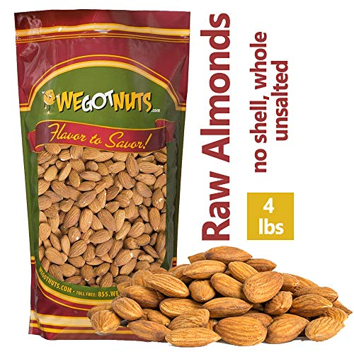 We Got Nuts Jumbo California Almonds 64oz (4 Pounds) (Whole, Raw, Shelled, Unsalted)