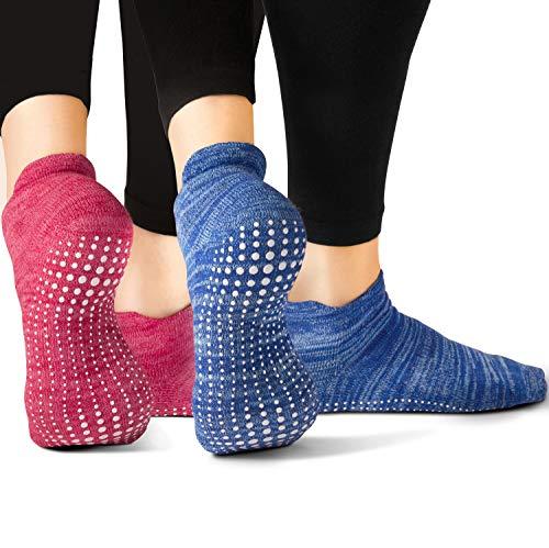 LA Active Calze Presa Antiscivolo Cotone - 2 Paia - Per Yoga Pilates Danza Ballet Sbarra (Slublime Blue e Knit Ruby, 37-40 EU)