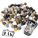 OUPENG Pebbles Polished Gravel, Natural Polished Mixed Color Stones, Small Decorative River Rock Stones 2 Pounds (32-Oz) … …