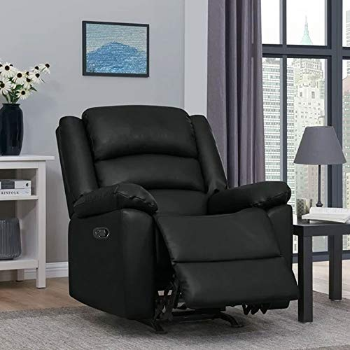 FURNY Carson 1 Seater Dried Treated Leatherette Manual with German Recliner Mechanism Sofa with U Shaped Seating Comfort and Box Springs (Black)