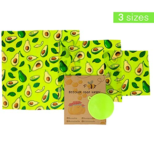 Beeswax Reusable Food Wraps w/Free Produce Scrubber - 3 Sizes - Nature's Solution to Plastic Food Wrap Alternatives by Rich Rose Supply Co. (Avocado)