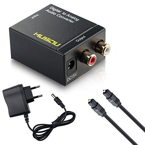 Audio Konverter Wandler Musou Digital (Toslink und Koaxial) zu Analog (Cinch)    Digital zu Analog Audiowandler Decoder   Noise Reduction Design mit Netzteil und Toslinkkabel - Schwarz
