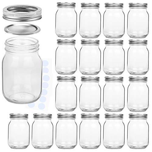 KAMOTA Mason Jars 16 oz With Regular Lids