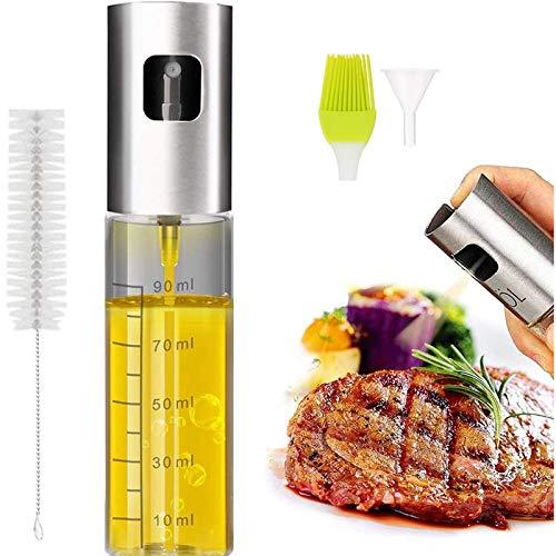 Pulverizador Aceite, Eletorot Spray Aceite Cocina para Freidora de Aire 100ML Aceitera y Vinagre Vaporizador Aceitera Cristal Con un Embudo y Pincel para Cocinar, Ensalada, Hornear, Pan, Barbaco