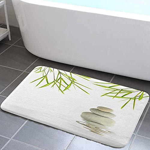 EdCott Tappeti bagno decor spa Zen bagno Foglia di bamb verde Onda di ciottoli bianca Onda di acqua...