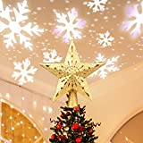 Tree Topper, Christmas Tree Topper Star with Rotating Snowflakes LED Projector,3D Gold Glittered Tree Toppers Christmas Decorations