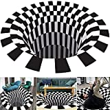 LucaSng Black and White Grid Round Carpet Living Room Doormat Coffee Table Sofa Blanket Three-Dimensional Illusion Carpet