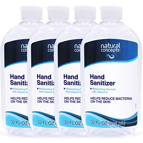 Natural Concepts Hand Sanitizer Gel, Value Pack of 4, 32 oz Bottles, 65% Ethyl Alcohol with Vitamin E, Protects Against Germs On-The-Go