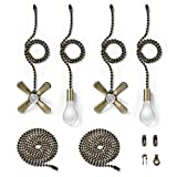 Bronze Fan Pull Chain with One Pair 35.4 inches Extension, Kinghouse 4 pcs 13.6 inches 3.2mm Beaded Ball Fan Pull Chain Set including Beaded and Pull Loop Connectors, Holiday Gift Set (Oil Rubbed Bron
