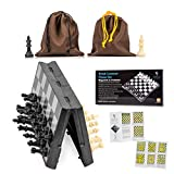 Travel Chess Set Magnetic Brisk Learner - Portable and Educational Kids Mini Toy Game - Foldable Board and 2 Cloth Bags Perfect for Storage and Traveling - Free Guide and Rules for Beginners