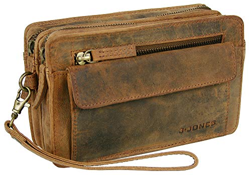 J JONES JENNIFER JONES Echt Leder Herren Handgelenktasche Herrenhandtasche Brieftasche Geldbörsentasche für Männer (6152)