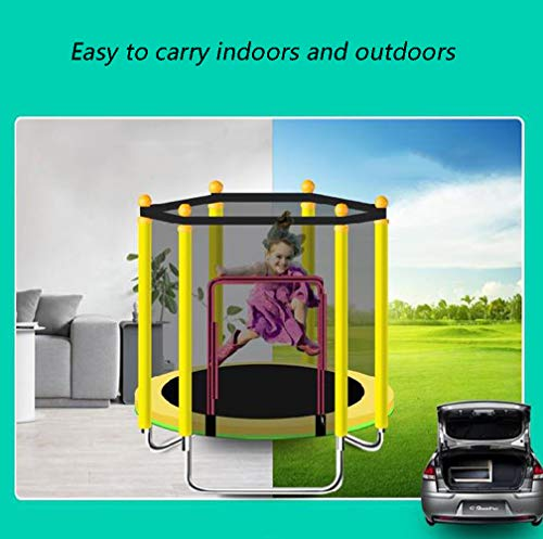 JIYU Mini Foldable Fitness Trampoline Handle for Children/Toddler Rebounder Trampoline with Fence,Max Load 250kg with Adjustable Handrail for Indoor Garden Workout Cardio Exercise Blue 3
