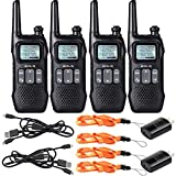 Retevis RT16 Walkie-Talkie Rechargeable FRS NOAA Weather Alert Emergency FM Flashlight Dual Watch Privacy Code Encrypt 2 Way Radio Long Range(4 Pack)