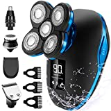 OriHea Head Shavers for Bald Men Wet Dry Electric Razor Bald Head Shaver Rotary Cordless Hair Clippers Nose Hair Trimmer Waterproof USB Rechargeable with 4D Floating 5 Razor Head