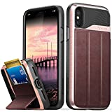 Vena iPhone Xs/X Wallet Case, [vCommute][Military Grade Drop Protection] Flip Leather Cover Card Slot Holder with Kickstand Compatible with Apple iPhone Xs 2018 / X 2017 5.8' (Rose Gold/Black)