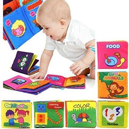 Yosoo Set di 6 Libri in Tessuto morbido, Adatto per bambini di et 3 mesi a 3 anni, 10 x 9cm, Inglese