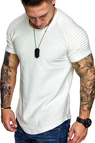 COOFANDY Men Short Sleeve Raglan Muscle T-Shirt Pleats Fashion...