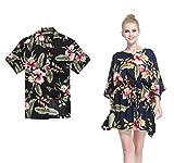 Couple Matching Hawaiian Luau Aloha Shirt Poncho Dress in Black Rafelsia M