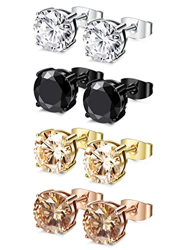 FIBO STEEL 4 Pairs Stainless Steel Round Stud Earrings for Men Women Ear Piercing Earrings Cubic Zirconia Inlaid,8 mm