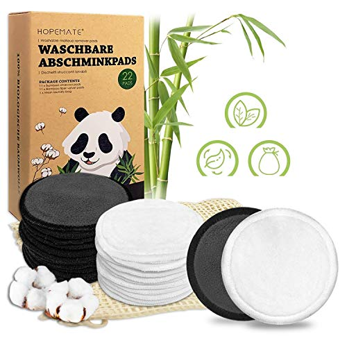 Abschminkpads Waschbar, Wiederverwendbare Wattepads aus Bambus und Baumwolle, Make up Entferner Pads Perfekt für Gesichtsreinigung, Umweltfreundliche Produkte, 2 Farben mit Wäschesack