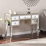 MTFY Mirrored Console Table,Mirrored Makeup Vanity Table Desk, 5 Drawer Media Console Table for Women Home Office Writing Desk Smooth Finish with Ring Knobs (5 Drawer,Silver)