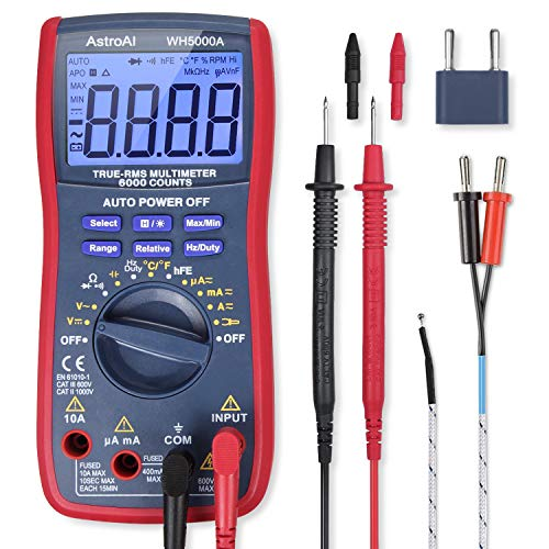 AstroAI Digital Multimeter, True RMS 6000 Counts Advanced Multimeter, messen AC/DC Spannung, AC/DC Strom, Widerstand, Kontinuität, Kapazitanz, Frequenz, Tests Dioden, Transistoren, Temperatur, Rot