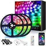 AMBOTHER Ruban LED Bleutooth 12M LED Ruban RGB 360 LEDs 5050 3 Modes de Contrôle APP/Télécommande IR/Récepteur Bande LED Autocollant Synchroniser avec...