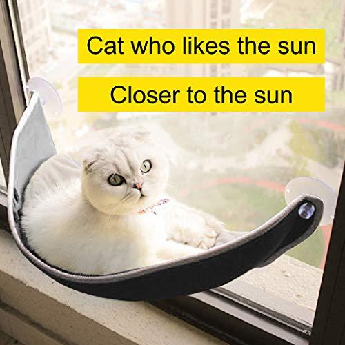 Katzen Hängematte Katzen Fensterplatz Window Lounger,Cat Kühlung Fenster Bett Fenstermontierte Hängematte Katzenbett Pet Glass Fensterbrett Katzebett Fenster bis zu 10 kg für Katzen (Grau)
