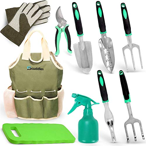 Scuddles Garden Tools Set - 7 Piece Heavy Duty Gardening...