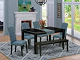 6Pc Dining Set Includes a Rectangle Dining Table, Four Parson Chairs with Blue Fabric and a Bench, Black Finish